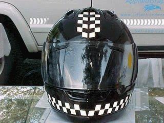 Beautiful decals on motorcycle helmets